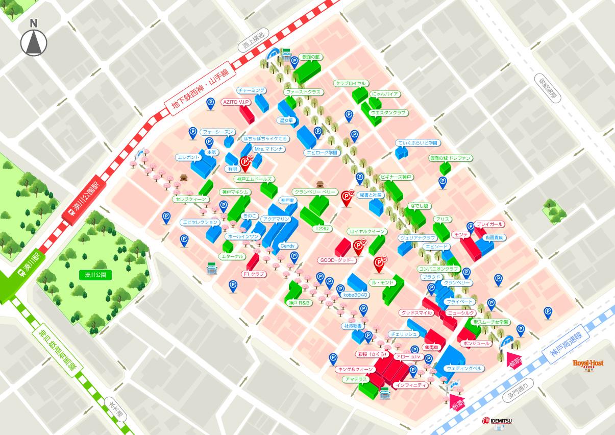 福原ソープランド街の地図